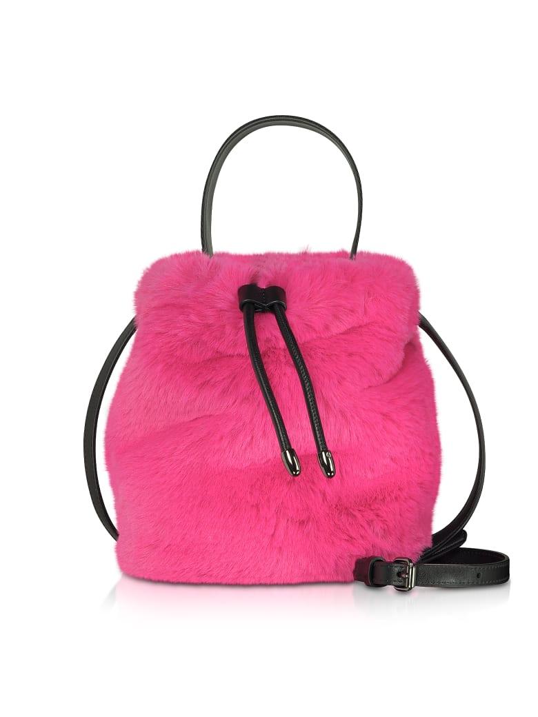 Karl Lagerfeld Carine X Karl Fur Bucket Bag - Fuchsia
