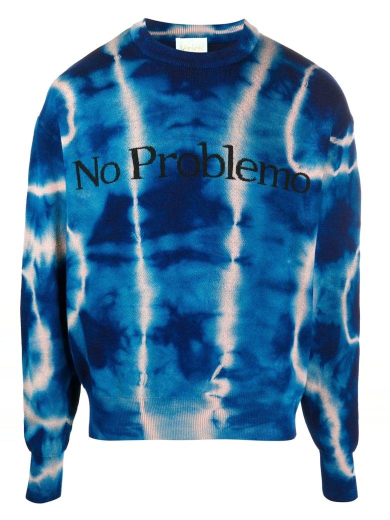 Aries Blue Wool Tie-dye Print Jumper - Blu