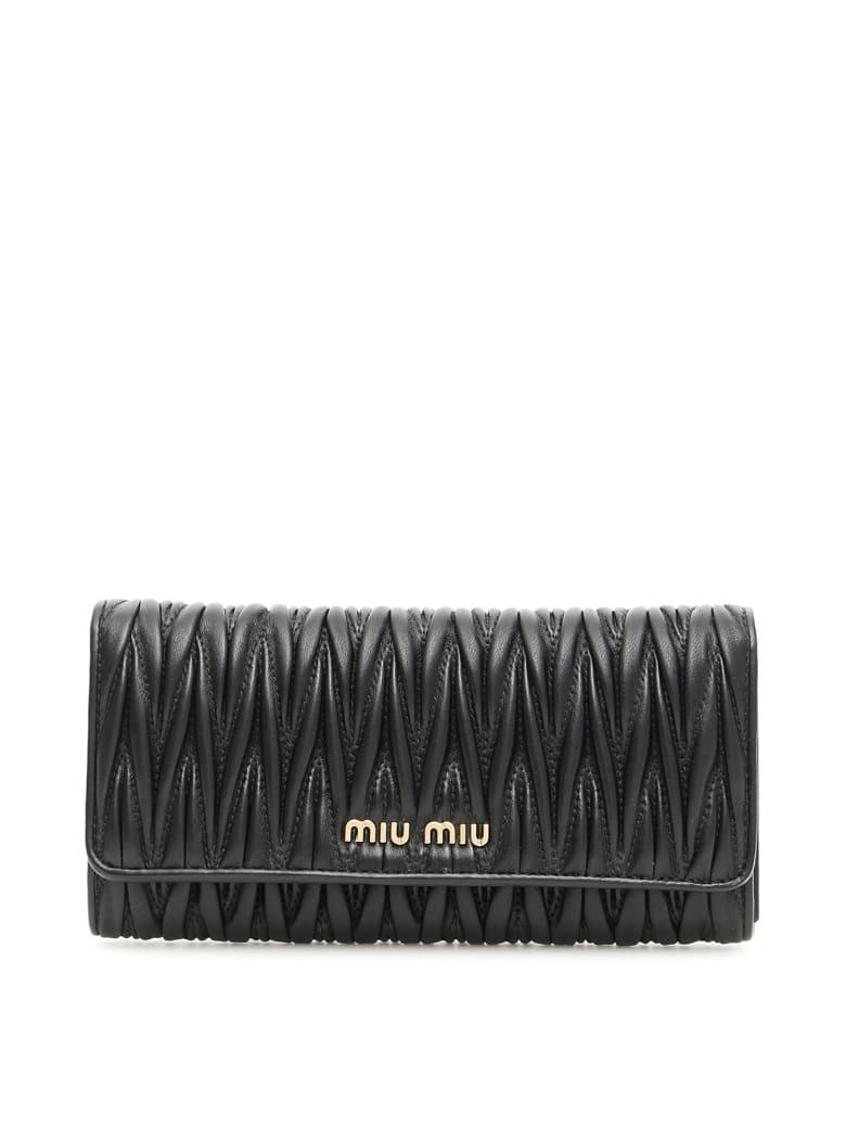 Miu Miu Miu Logo Matelassé Wallet - NERO (Black)