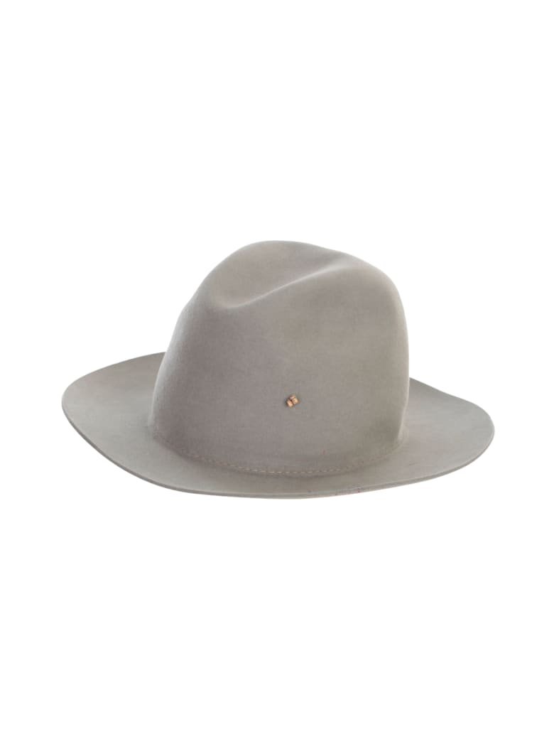 Super Duper Hats Drop Crown Raw Brim Nat Stone Stitch Detail - Green