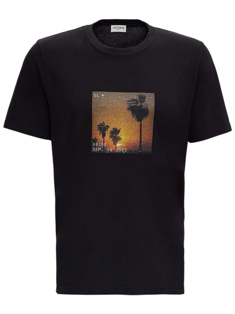 Saint Laurent T-shirt In Jersey With Sunset Print - Nero