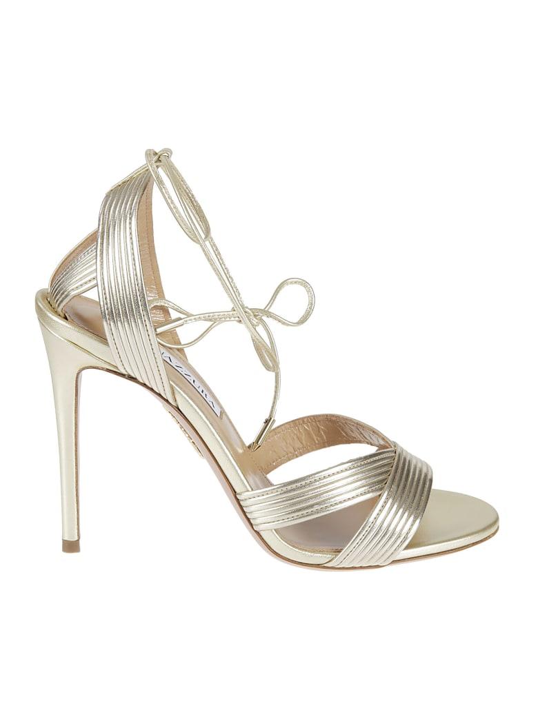 Aquazzura Ari 105 Sandals - Soft Gold