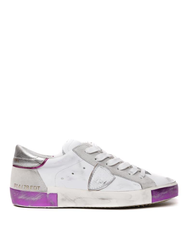 Philippe Model White & Fuxia Leather Sneaker - Optic white/fuxia