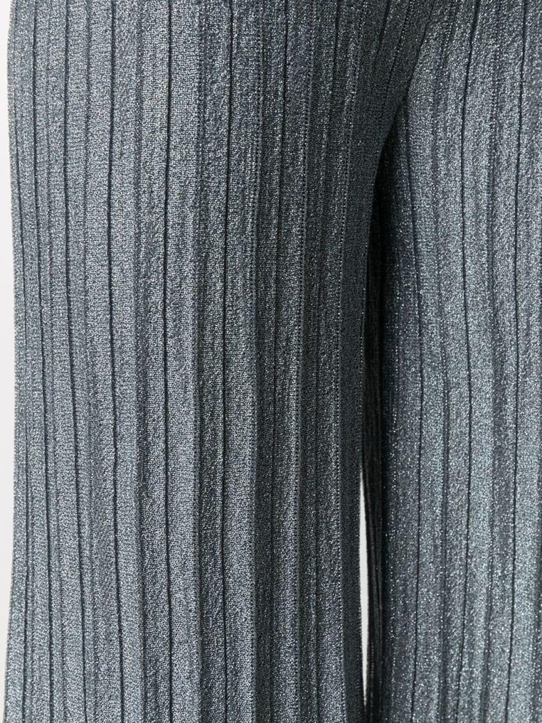 M Missoni Wide Metallic Blue Lurex Pants - Azzurro
