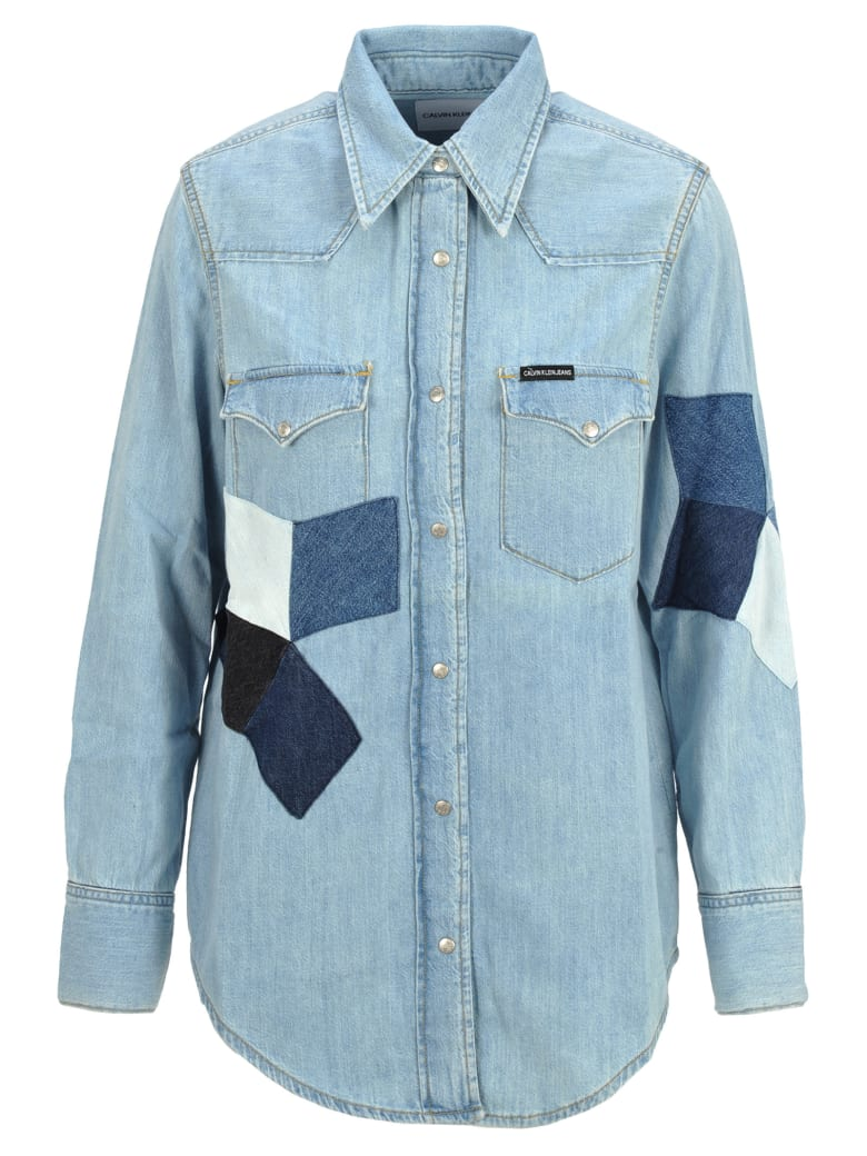 Calvin Klein Jeans Patchwork Denim Shirt - LIGHT BLUE WASHED
