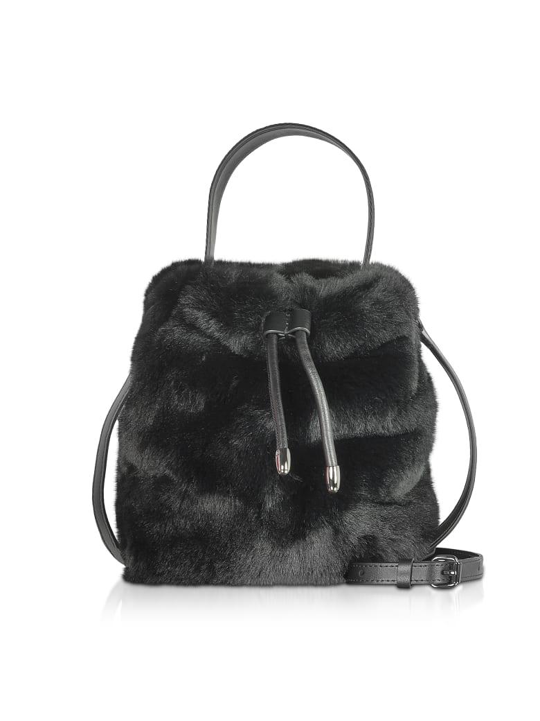 Karl Lagerfeld Carine X Karl Fur Bucket Bag - Black
