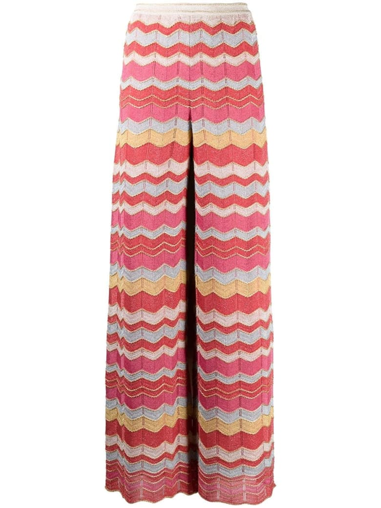 M Missoni Zig-zag Pants In Multicolor Lurex - Multicolor