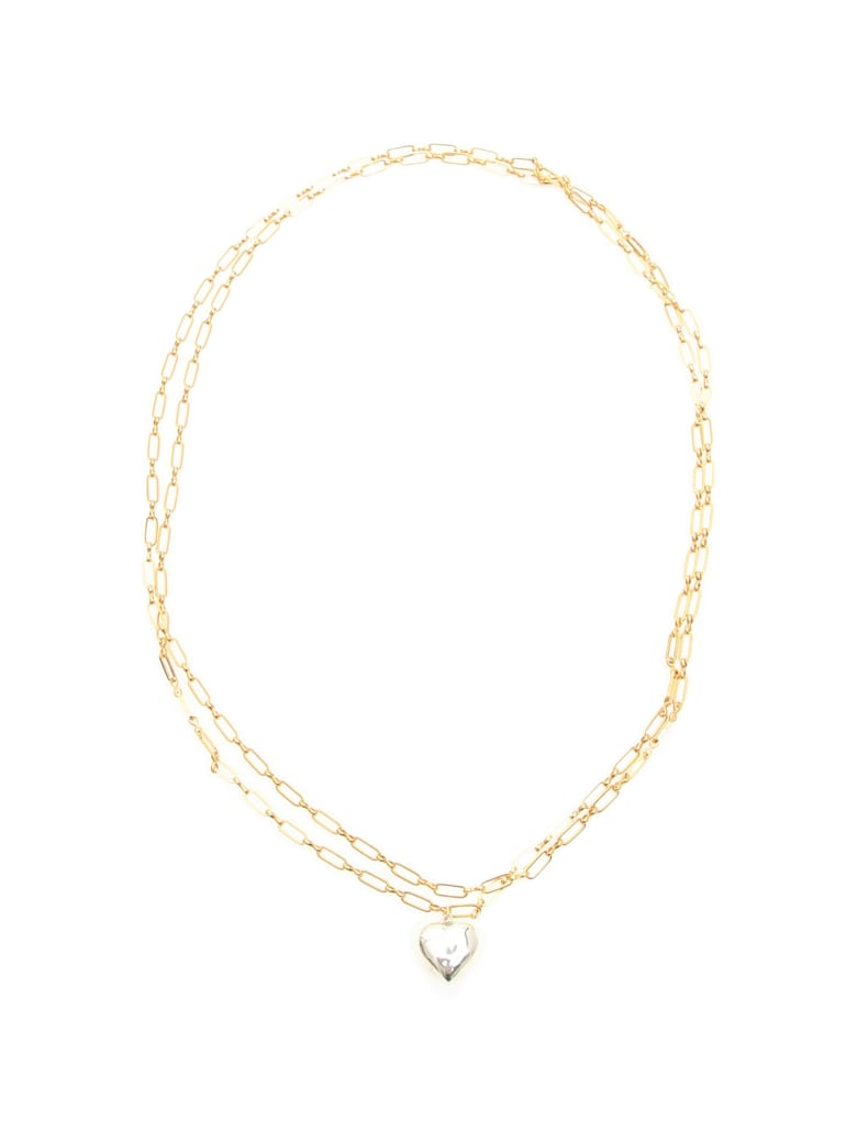 Timeless Pearly Double Chain Heart Necklace - SILVER GOLD (Gold)