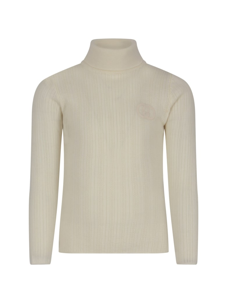 Gucci Ivory Sweater With Double Gg For Kid - Ivory