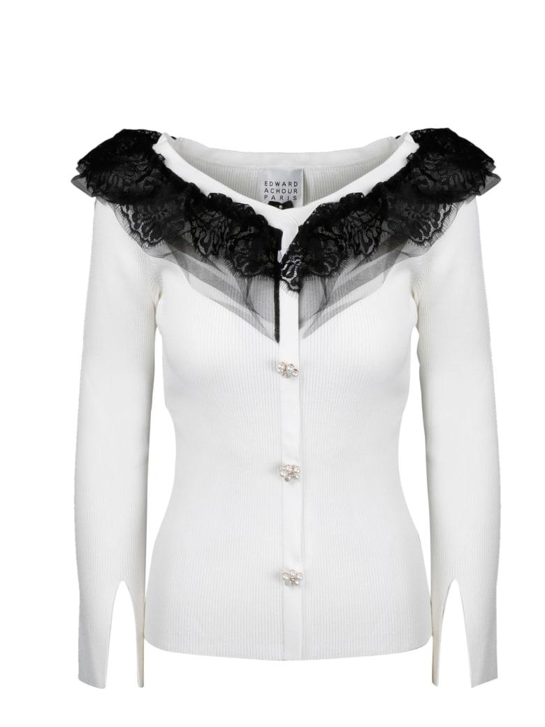 Edward Achour Paris Lace Collar Sweater - White