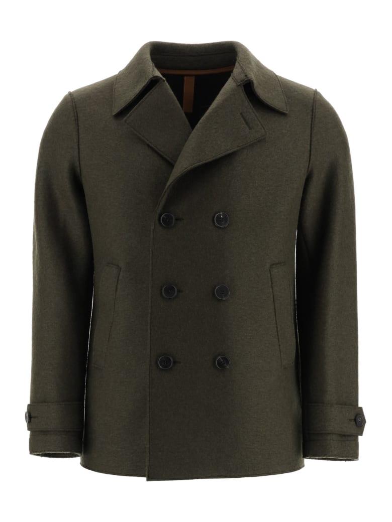 Harris Wharf London Boiled Wool Pea Coat - MOSS GREEN (Green)