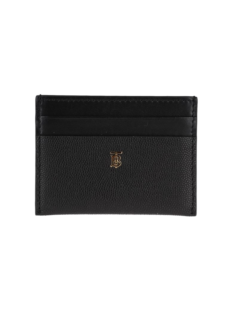 Burberry London Leather Credit Card Holder With Monogram Motif - BLACK