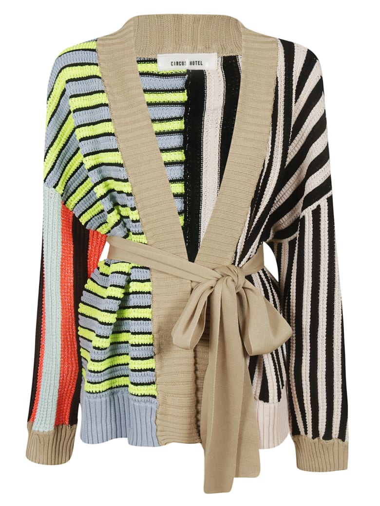 Circus Hotel Striped Patchwork Cardigan - Multicolor