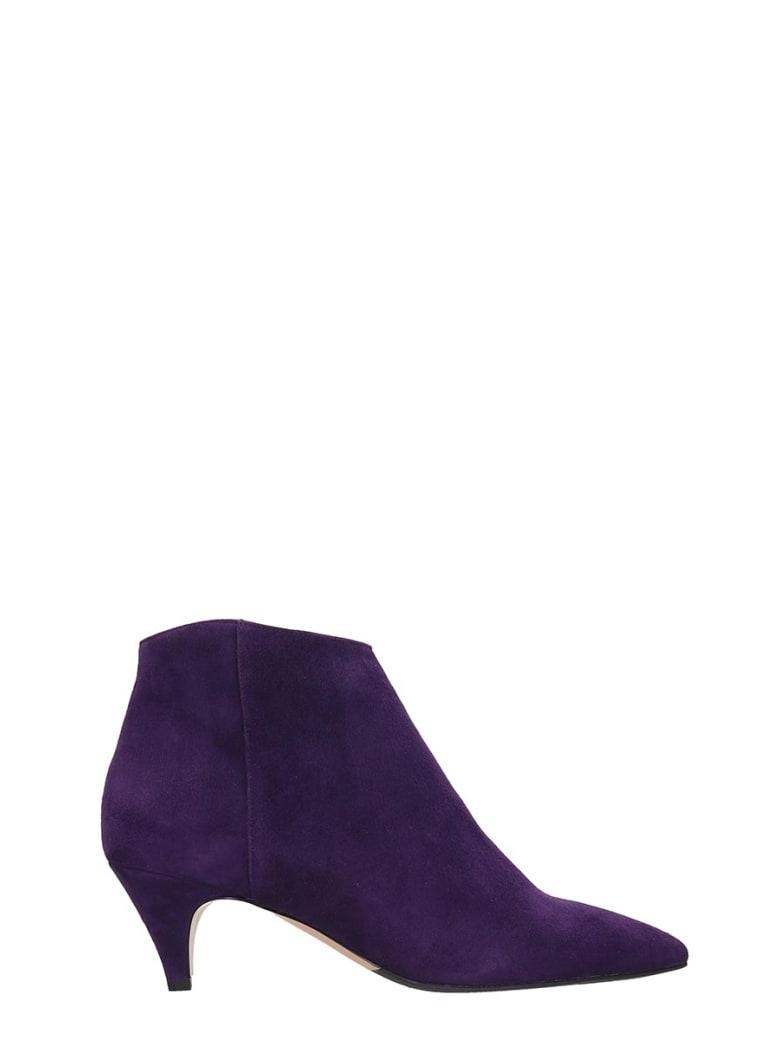 The Seller High Heels Ankle Boots In Viola Suede - Viola