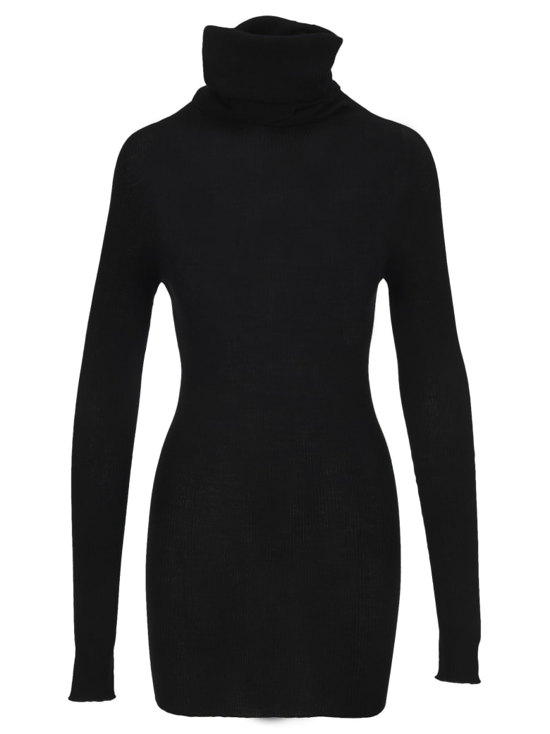 Rick Owens Roll Neck Longline Wool Top - BLACK