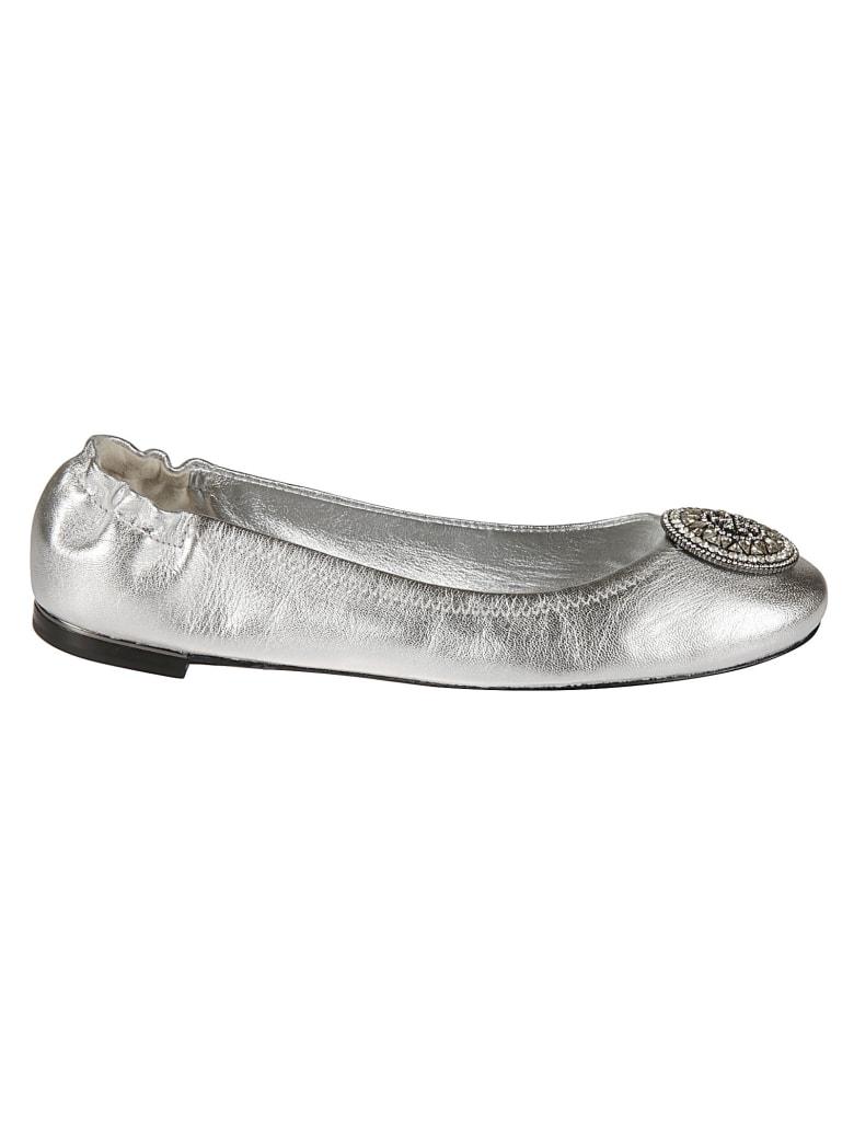 Tory Burch Crystal Logo Ballerinas - Silver