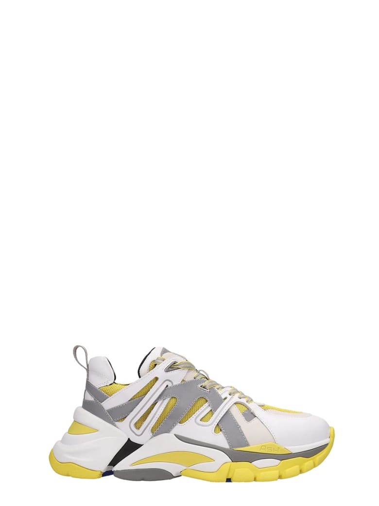 Ash White And Yellow Leather Flash Sneakers - white
