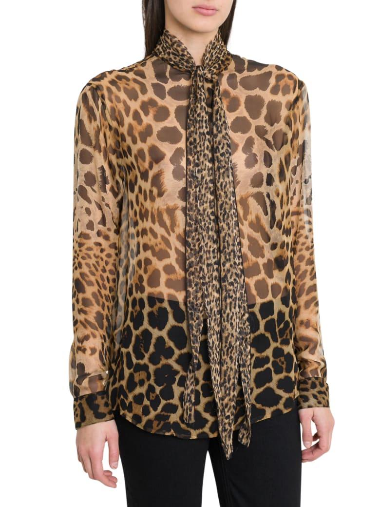 Saint Laurent Bow Tie Blouse In Leopard-print Silk Chiffon - Marrone