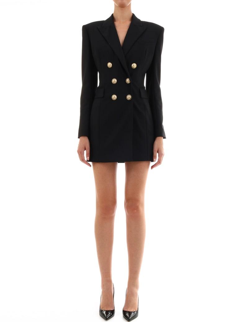 Balmain Double-breasted Wool Dress - Black
