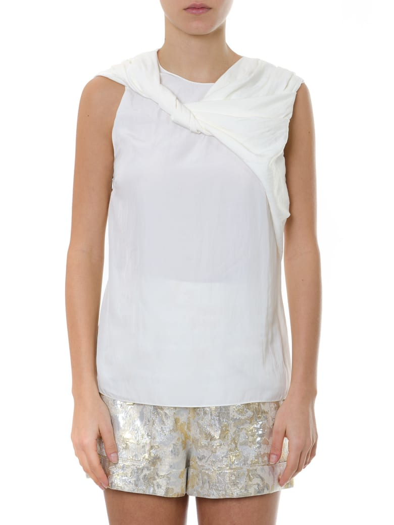 Lanvin Ivory Blouse With Bow Collar In Satin - Ivory