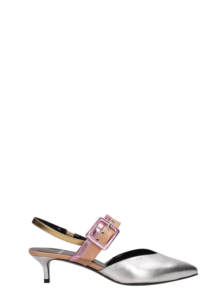 Pierre Hardy Silver Leather Alpha Sling Sandals - silver
