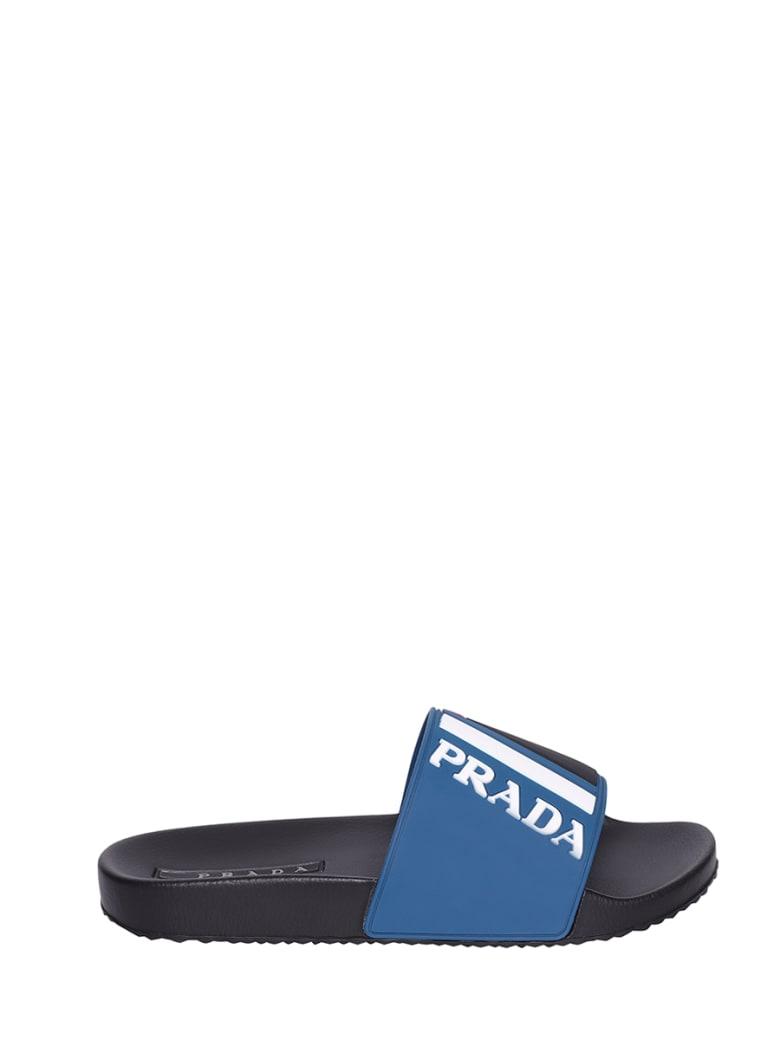 Prada Linea Rossa Logo Sliders - Cobalto