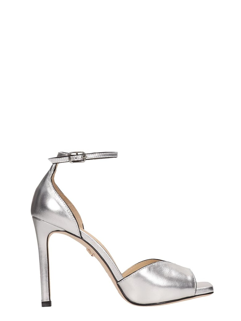 Lola Cruz Silver Calf Leather Sandals - silver