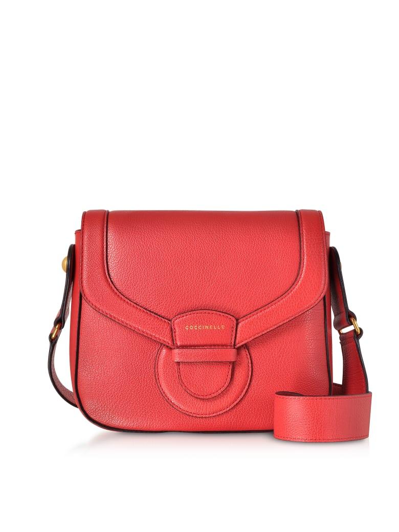 Coccinelle Vega Medium Leather Shoulder Bag - Poppy Red