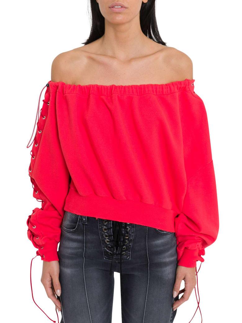 Ben Taverniti Unravel Project Off-the-shoulder Sweatshirt - Rosso