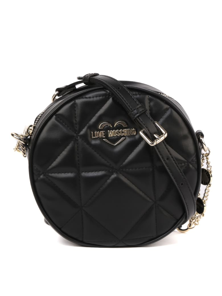 Love Moschino Black Round Quilted Faux Leather Bag - Black