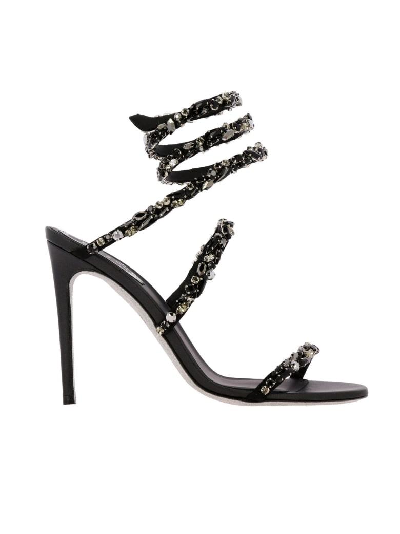René Caovilla Rene Caovilla Heeled Sandals Rene Caovilla Sandals In Satin With Rhinestones - black