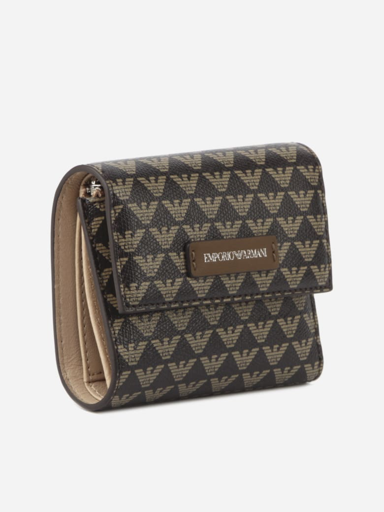 Emporio Armani Wallet With All-over Monogram Print - Marrone