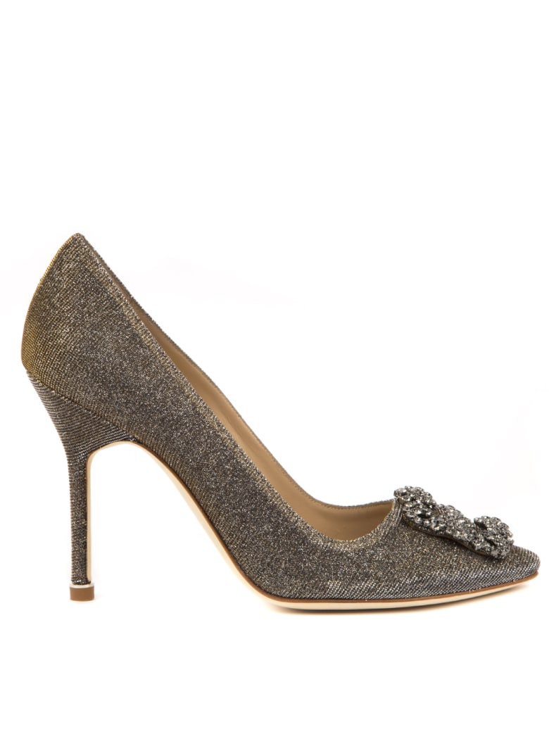 Manolo Blahnik Hangisi Dark Gold Cotton Pumps - Dark gold