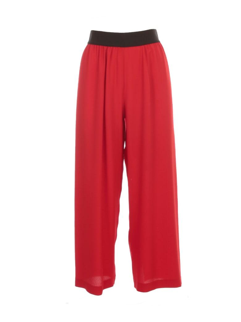 Maria Calderara Pants Wide Leg Crepe - Dark Red