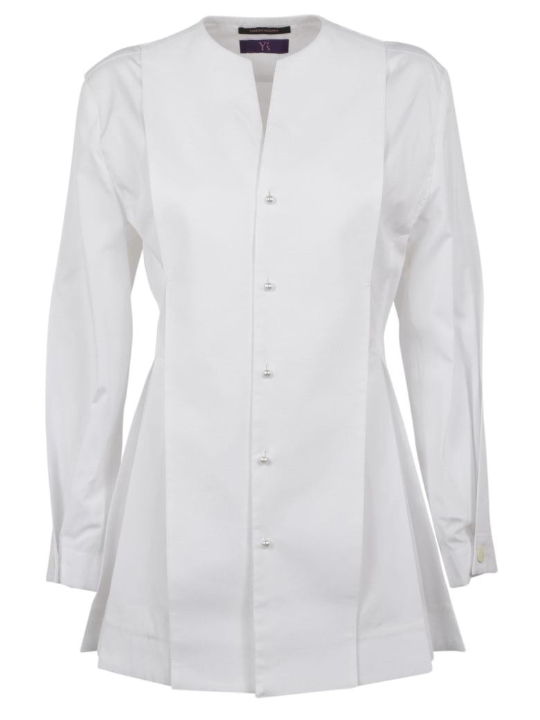 Y's Long Folded Shirt - White