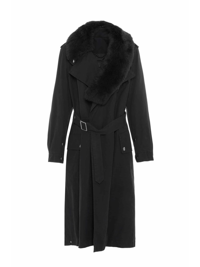 Mr & Mrs Italy Nick Wooster Unisex Trench With Shearling Scarf - BLACK / BLACK / BLACK