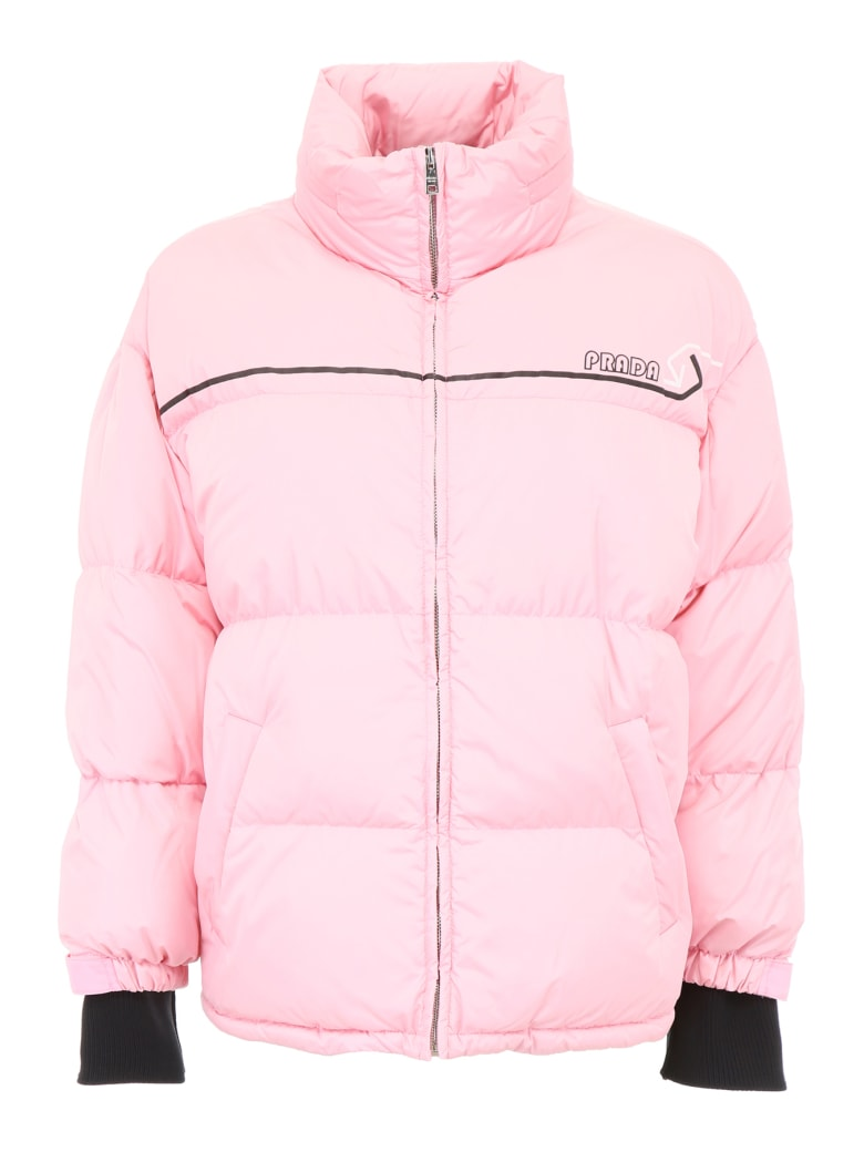 Prada Linea Rossa Puffer Jacket With Logo Patch - BEGONIA (Pink)