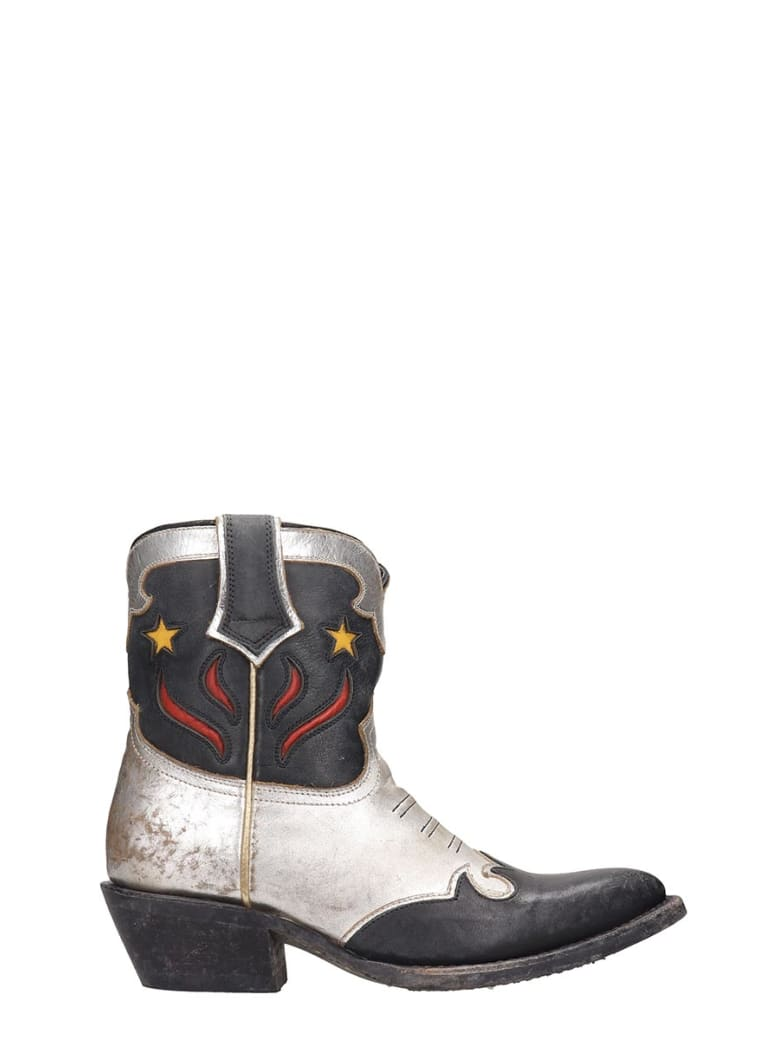 Ash Petrasw02 Texan Ankle Boots In Silver Leather - silver