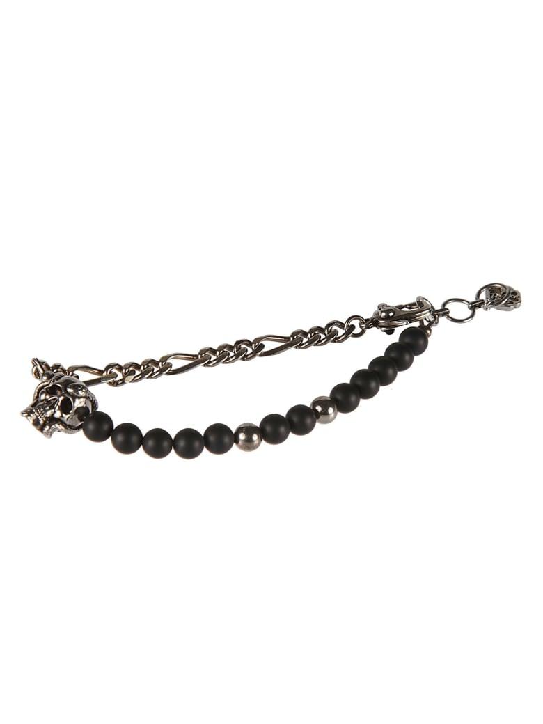 Alexander McQueen Beads & Skull Chain Bracelet - Nero