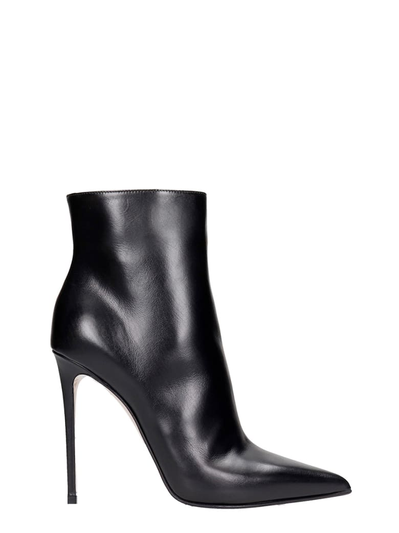 Le Silla Eva 120 High Heels Ankle Boots In Black Leather - black