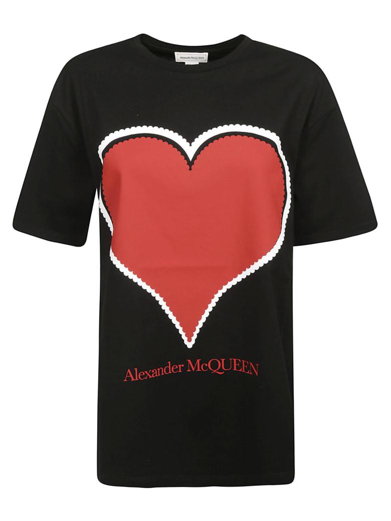 Alexander McQueen Heart & Logo Print T-shirt - Black