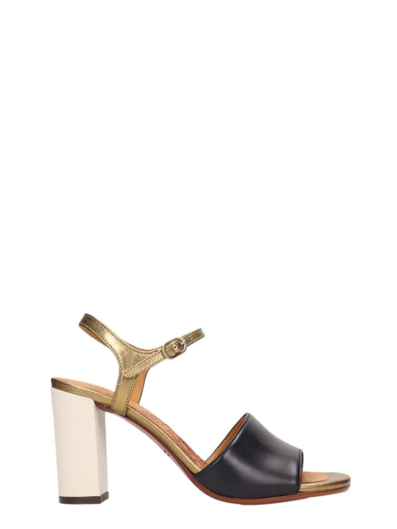 Chie Mihara Black Gold Leather Sandals - black
