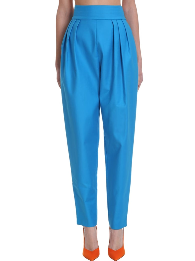 The Attico Pants In Cyan Cotton - Turchese