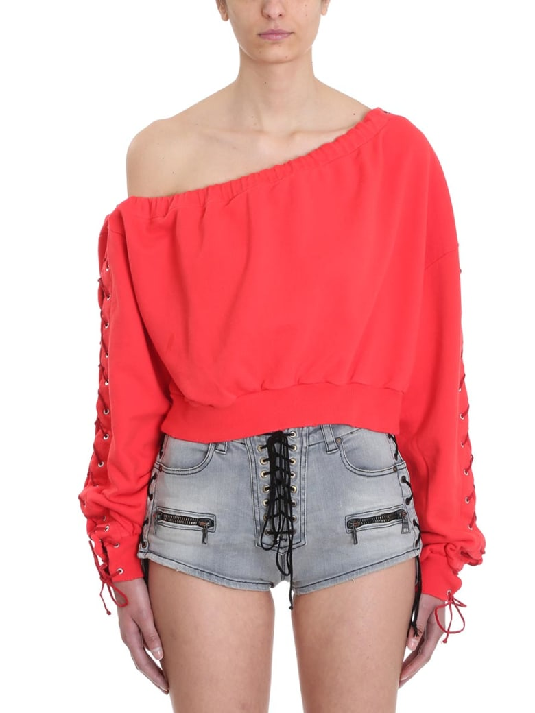 Ben Taverniti Unravel Project Terry Asymmetric Lace Up Sweater - red