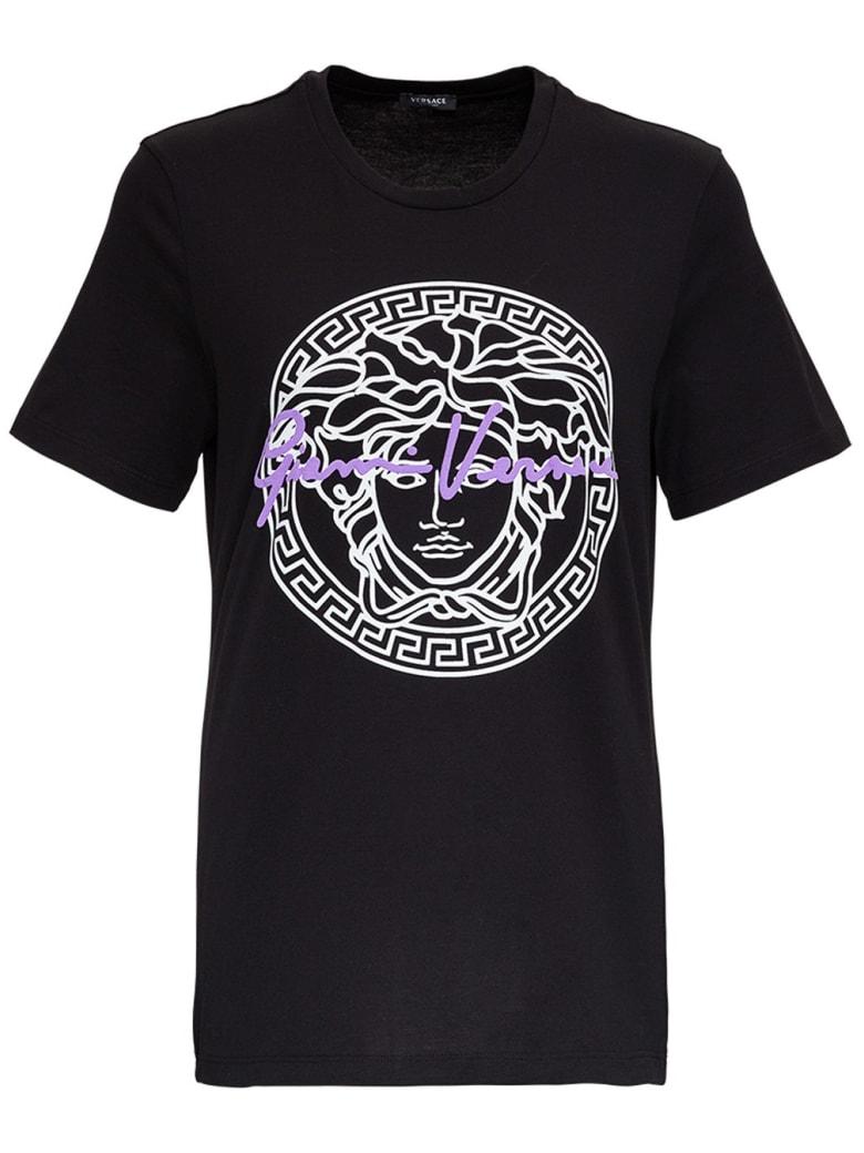 Versace Jersey T-shirt With Medusa Print - Black