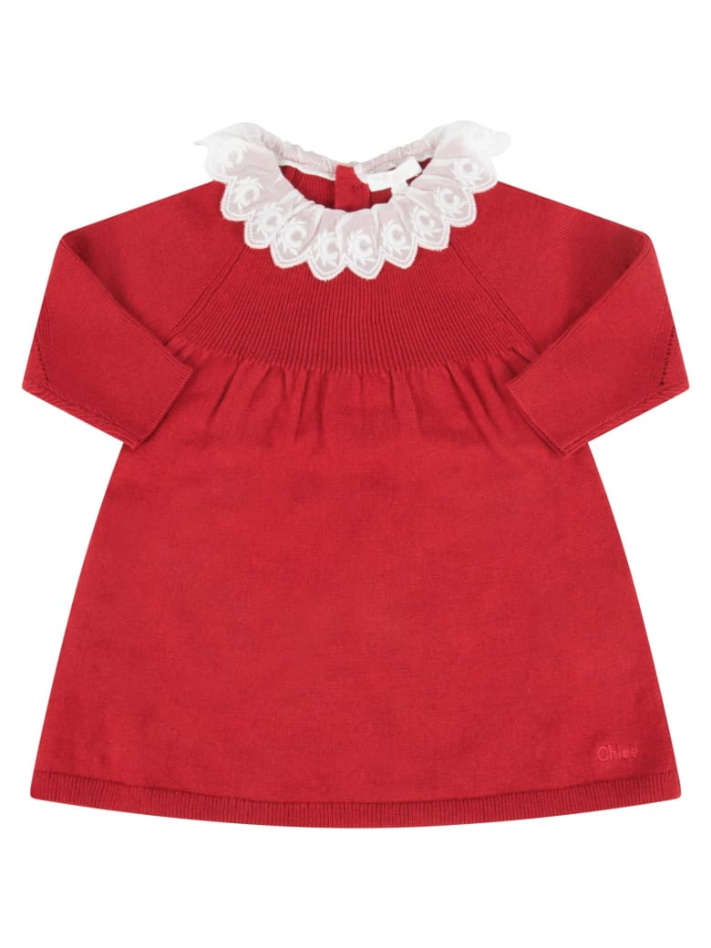 Chloé Red Dress With Logo For Baby Girl - Bordeaux