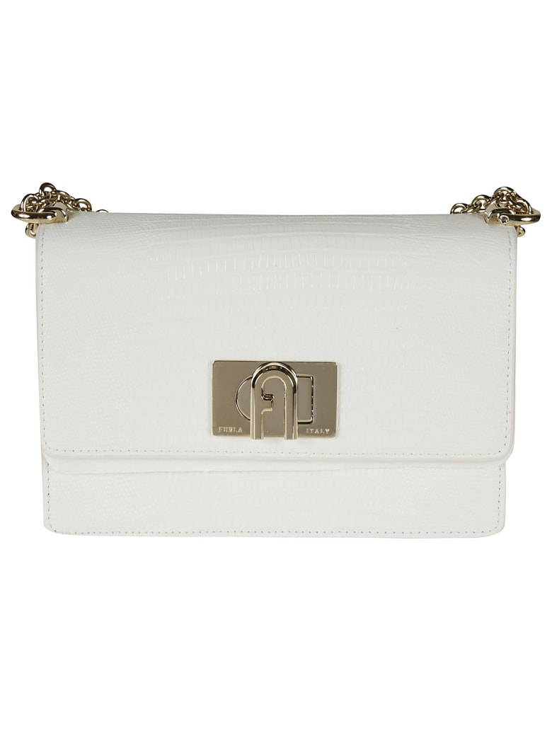 Furla Flap Chain Shoulder Bag - talc