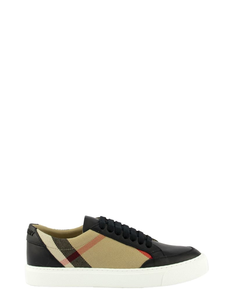 Burberry House Check And Leather Sneakers - Black