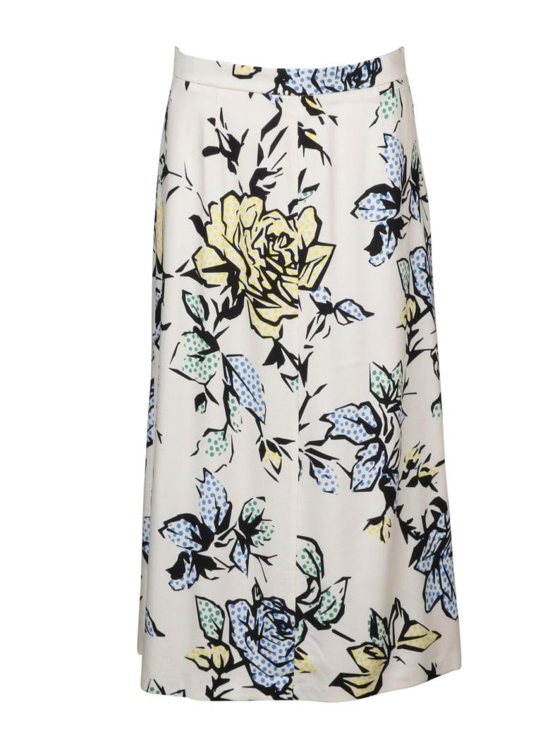 RED Valentino Graphic Roses Viscose Crepe Skirt - White