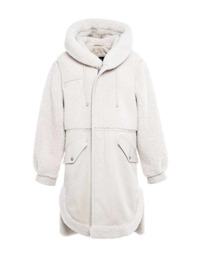 Mr & Mrs Italy Elizabeth Sulcer's Capsule Cotton Drill, Metal-free Shearling And Leather Parka For Woman - WHITE / SAIL WHITE